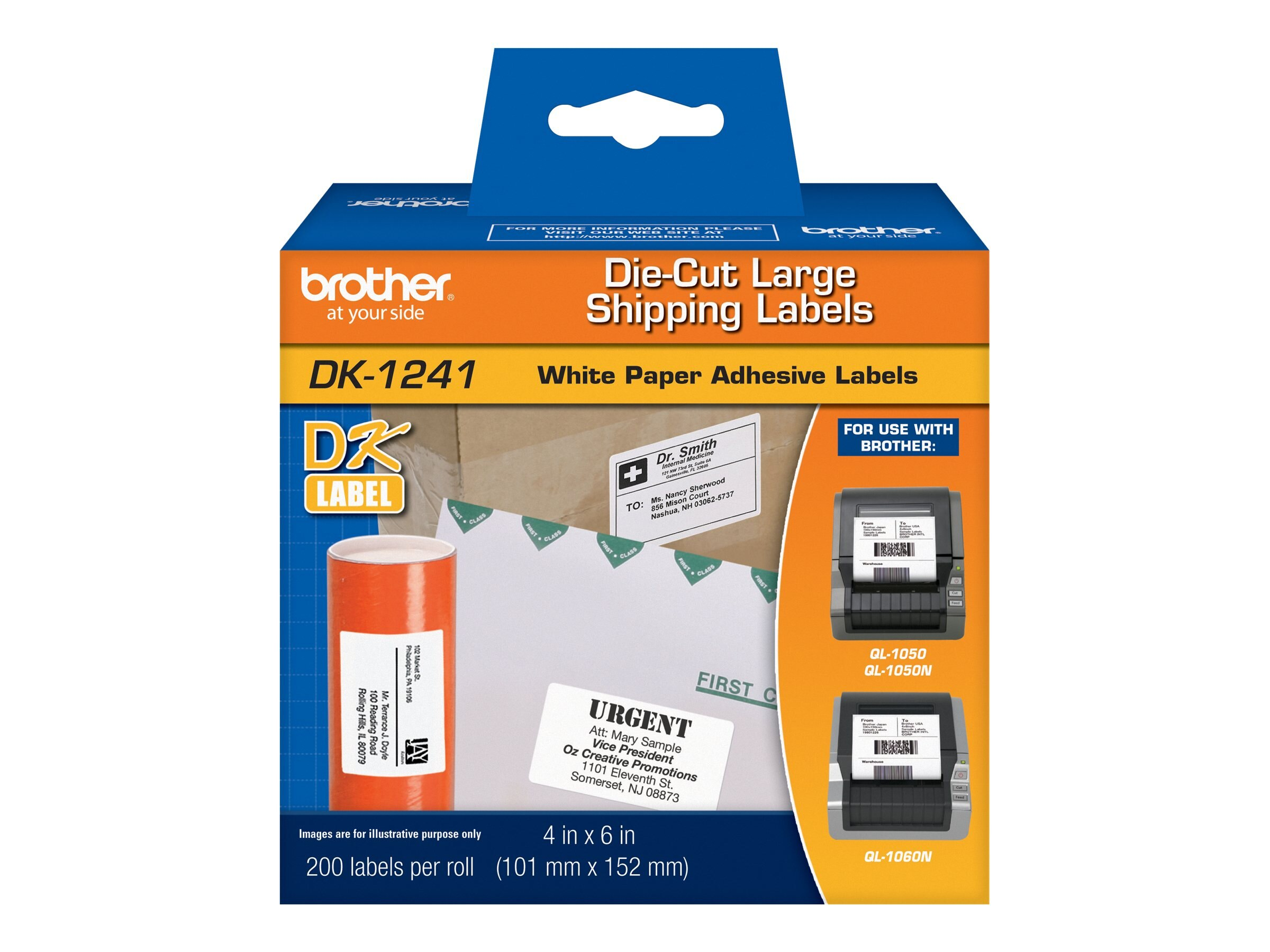 Brother 4 x 6 DK1241 Large Shipping Labels for QL-1050 QL-1060N (200 labels roll)