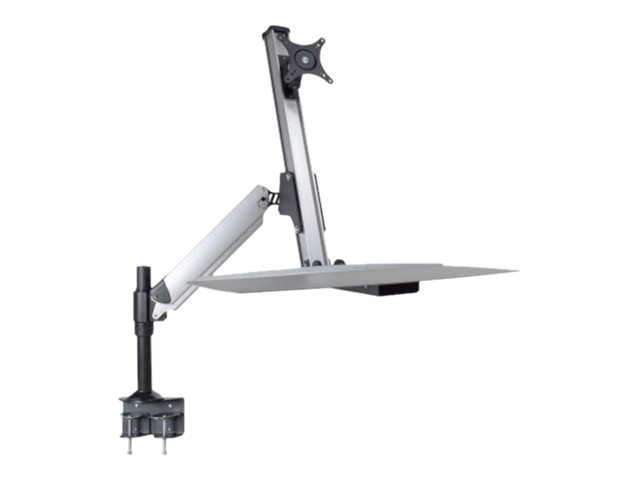 DoubleSight Sit-Stand Workstation with Lift Arm, Keyboard Tray, Single Desk Mount, DS-ERGO-100