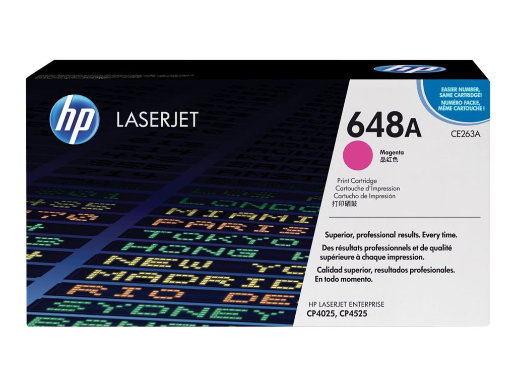 HP 648A (CE263A) Magenta Original LaserJet Toner Cartridge for HP Color LaserJet CP4025 & CP4525 Series, CE263A, 10457864, Toner and Imaging Components