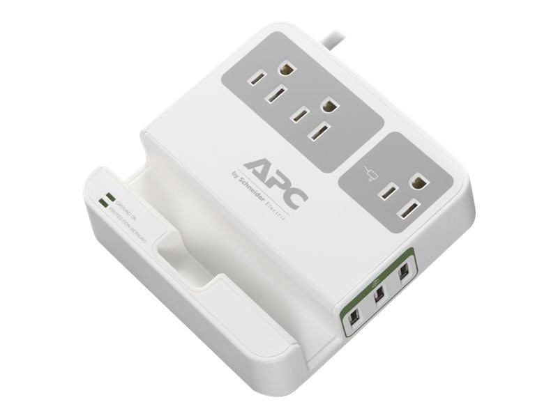 APC SurgeArrest Essential (3) Outlets w  (3) USB Charging Ports, White, P3U3, 17915434, Surge Suppressors