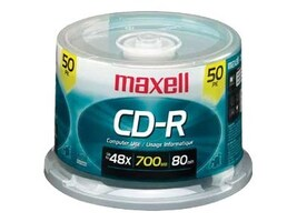 Maxell CD-R 48X 80 Minute 700MB 50 Pack Spindle, 62576, 451009, CD Media
