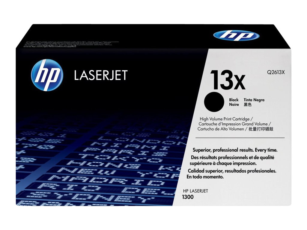 HP 13X (Q2613X) High Yield Black Original LaserJet Toner Cartridge for HP LaserJet 1300 Printer, Q2613X