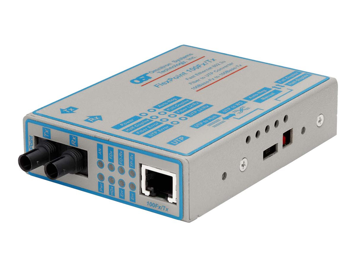 Omnitron FlexPoint Media Converter 100BaseTX to 100BaseFX, 4333-1, 194061, Network Transceivers