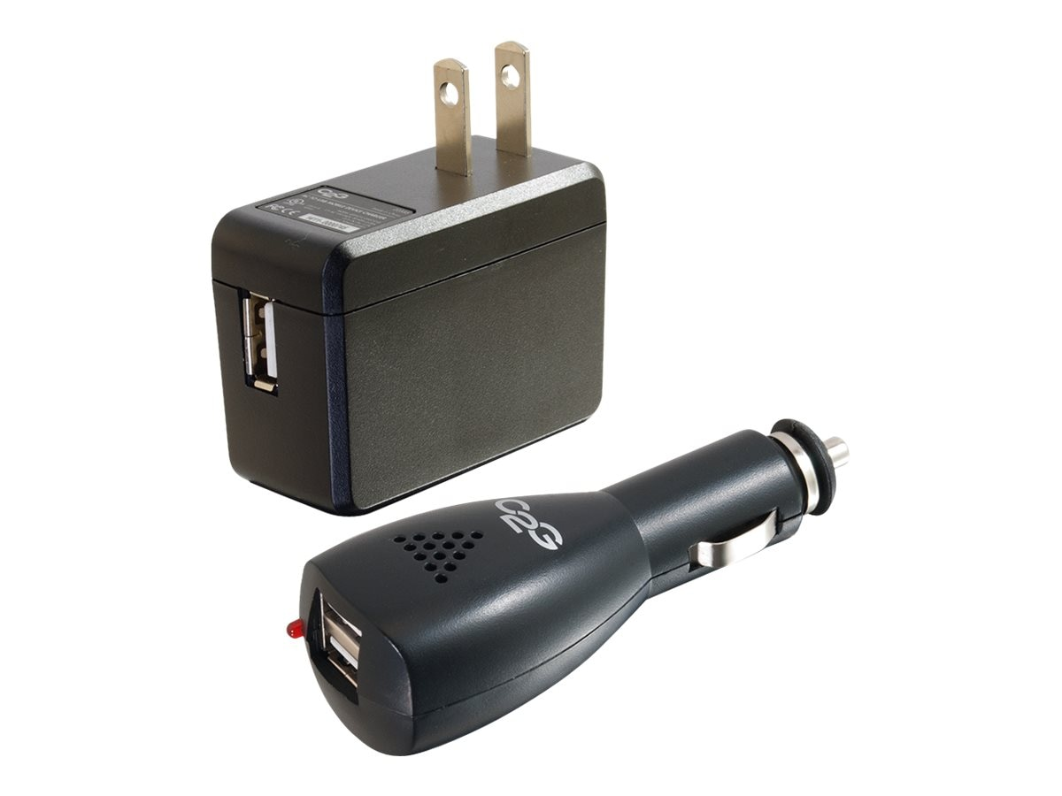 C2G AC and DC to USB Travel Charger Bundle