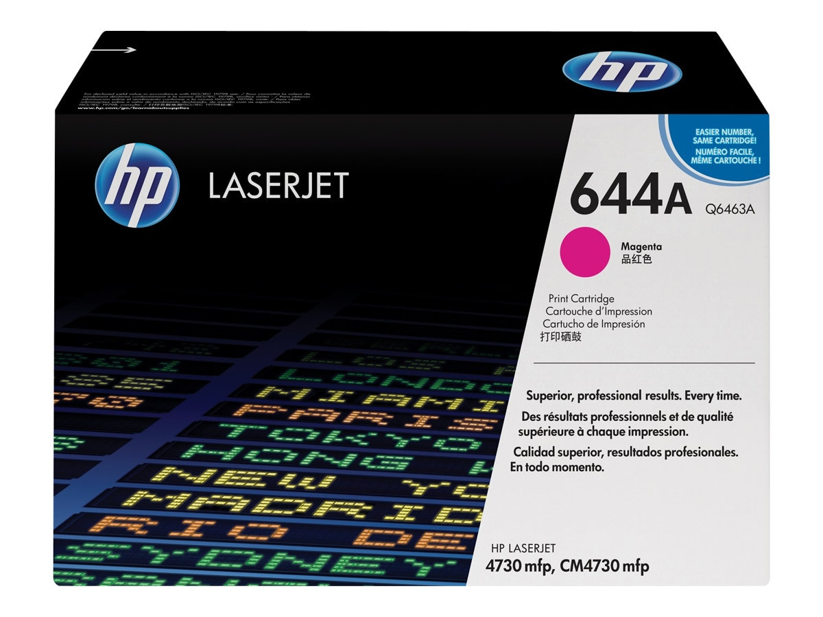 HP 644A (Q6463A) Magenta Original LaserJet Toner Cartridge for HP LaserJet 4730 MFP Series, Q6463A, 6023086, Toner and Imaging Components