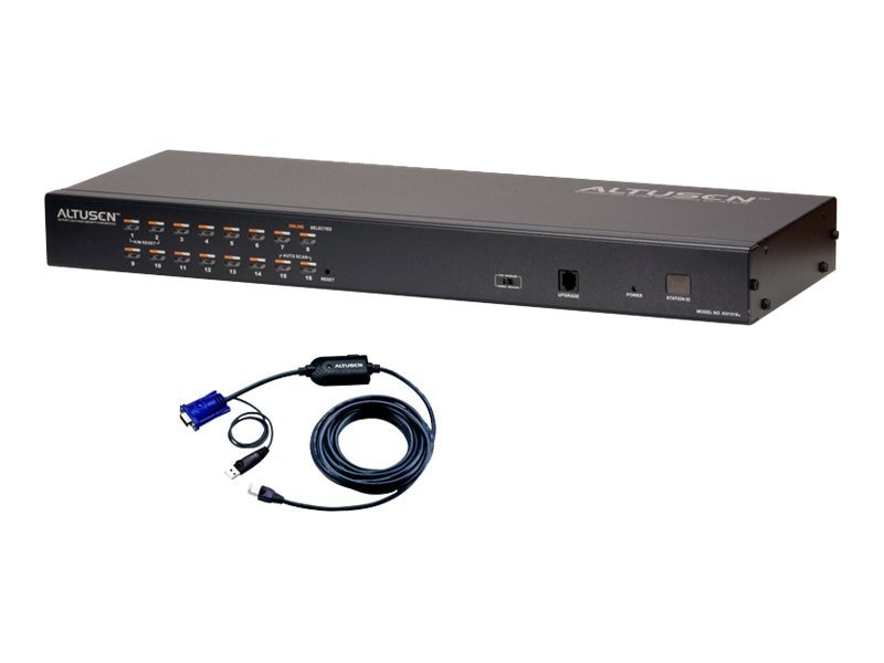 Aten 16-Port KVM Switch with 12 USB Adapter Cables, KH1516AUKIT
