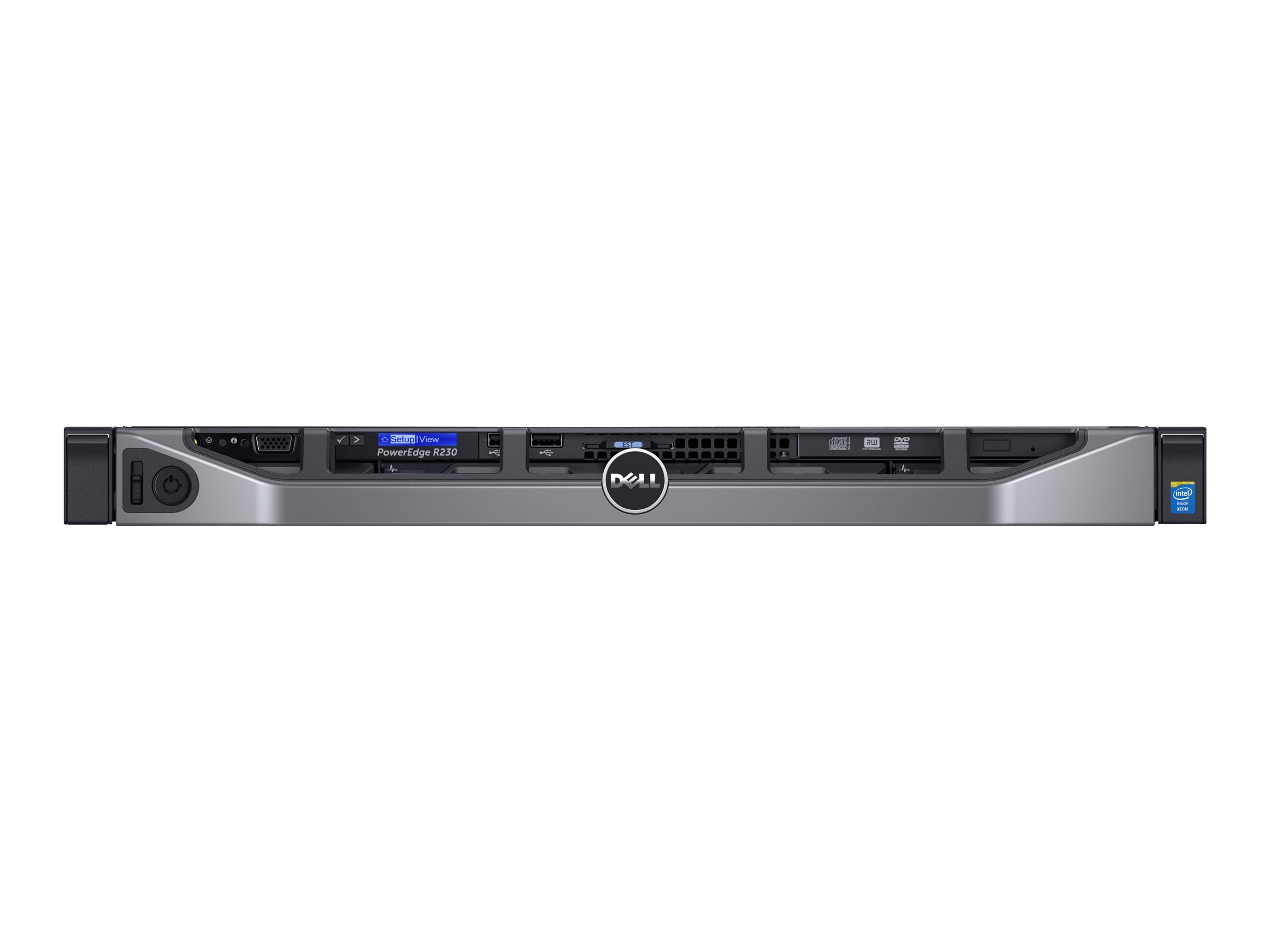 Dell PowerEdge R230 1U RM Xeon QC E3-1240 v5 3.5GHz 8GB 1x1TB 2x3.5 DC Bays DVD 2xGbE 250W, 463-7648