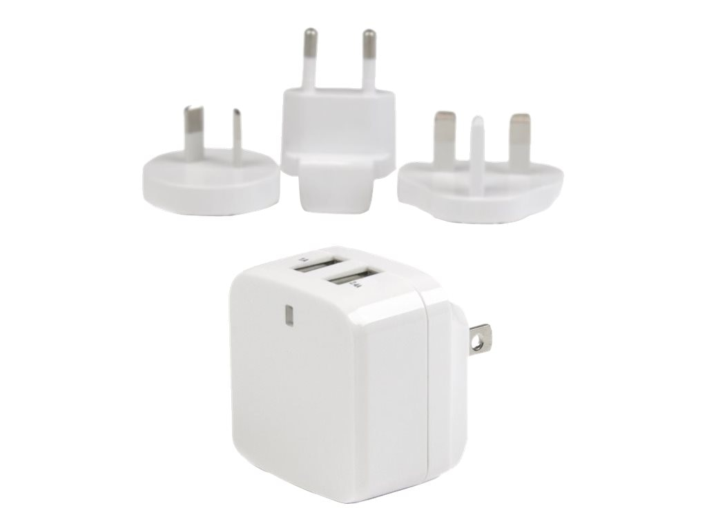 StarTech.com Dual-port USB Wall Charger w  International Travel Adapters, 17W 3.4A, White