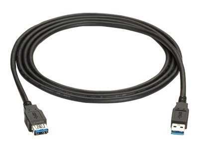 Black Box USB 3.0 Type A to USB Type A M F Cable, Black,3ft