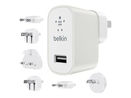 Belkin Travel Kit with 2.4A USB Charger, (6) Regional Plugs, White, F8M967BTWHT, 26551222, AC Power Adapters (external)