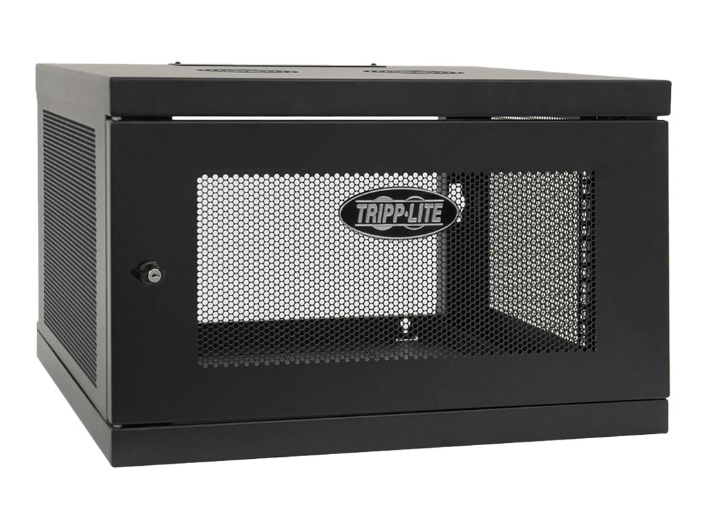 Tripp Lite SmartRack 6U Low-profile Switch-depth Knock-down Wall-mount Rack Enclosure Cabinet