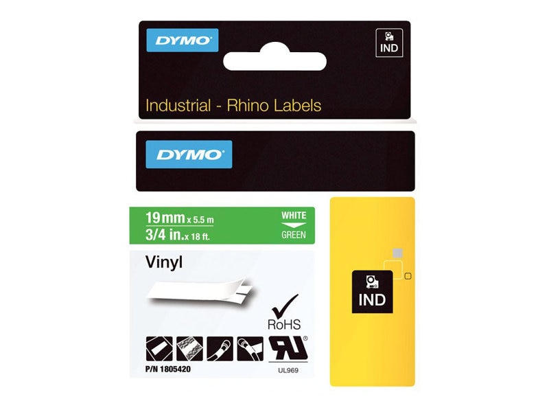 DYMO 3 4 Rhino Green Vinyl Labels, 1805420
