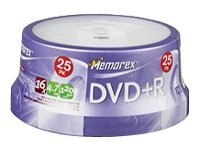 Memorex 16x 4.7GB DVD+R Media (25-pack Spindle), 025618, 5592463, DVD Media