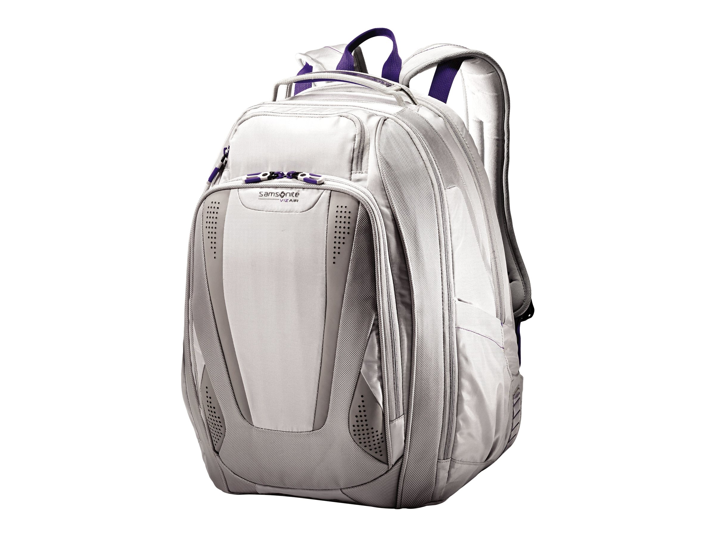 Stephen Gould Viz Air Backpack 15.6, Silver w  Purple Trim, 66256-2668