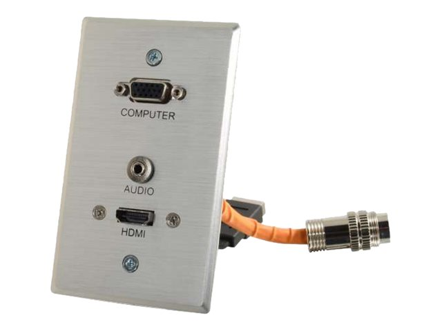 C2G RapidRun VGA + 3.5mm Single Gang Wall Plate + HDMI Pass Through, Aluminum, 60145, 17650384, Premise Wiring Equipment