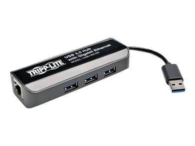 Tripp Lite USB 3.0 SuperSpeed to Gigabit Ethernet NIC Network Adapter with 3 Port USB 3.0 Hub, U336-U03-GB, 17529058, Network Adapters & NICs