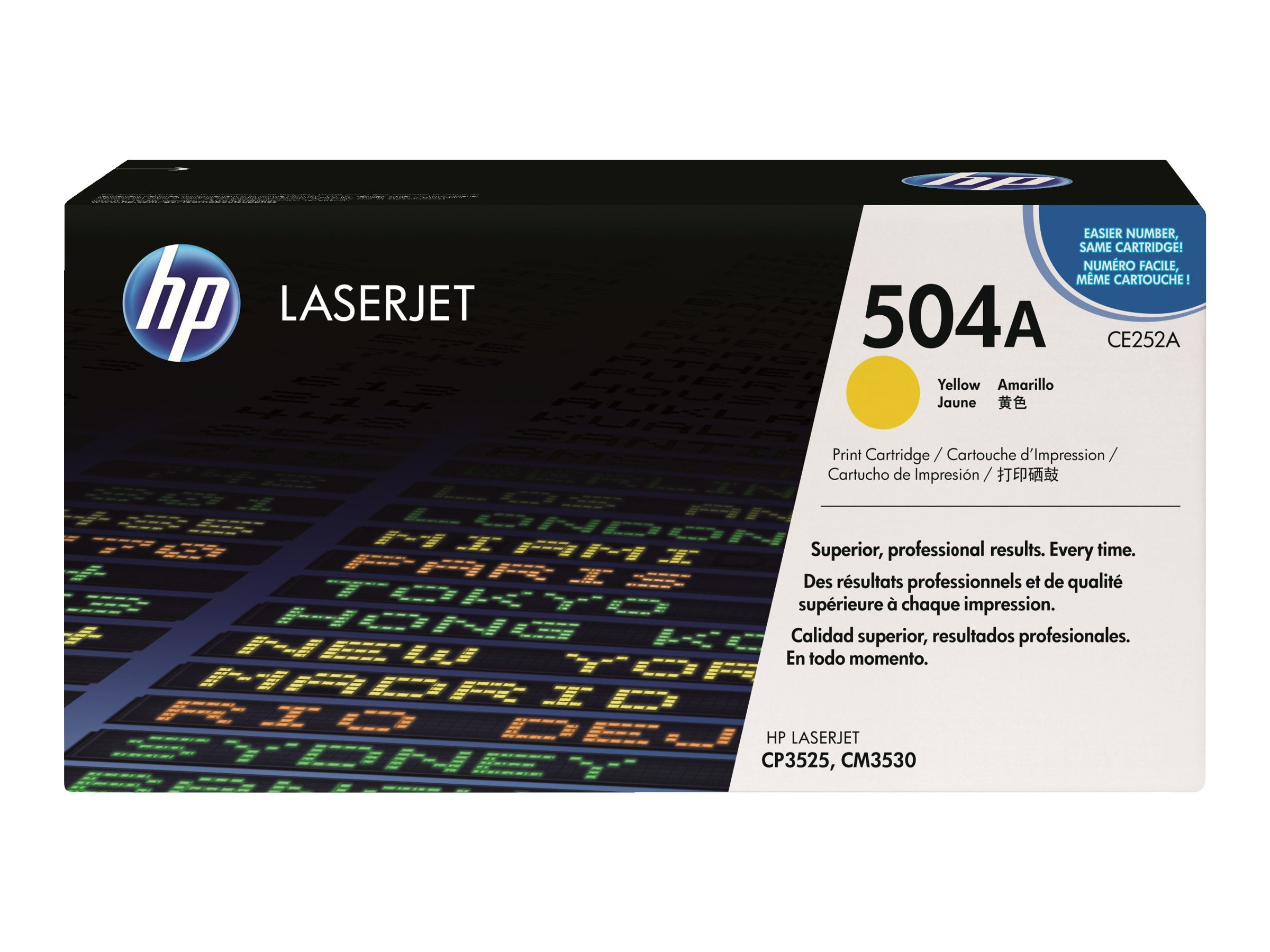 HP 504A (CE252AG) Yellow Original LaserJet Toner Cartridge for US Government (TAA Compliant), CE252AG, 11793721, Toner and Imaging Components