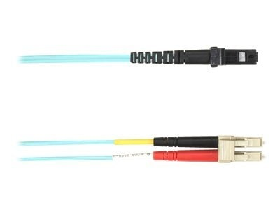 Black Box LC-MTRJ 50 125 Multimode Plenum Fiber Optic Cable, Aqua, 10m, FOCMP50-010M-LCMT-AQ