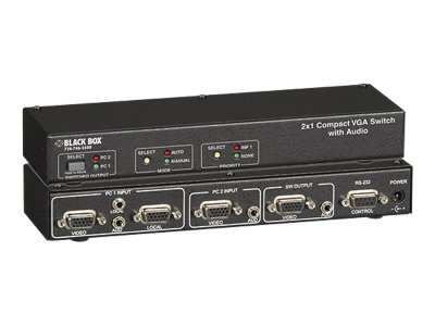 Black Box 2x1 Compact VGA Switch with Audio, AC505A-2A-R2, 11140818, Switch Boxes - AV