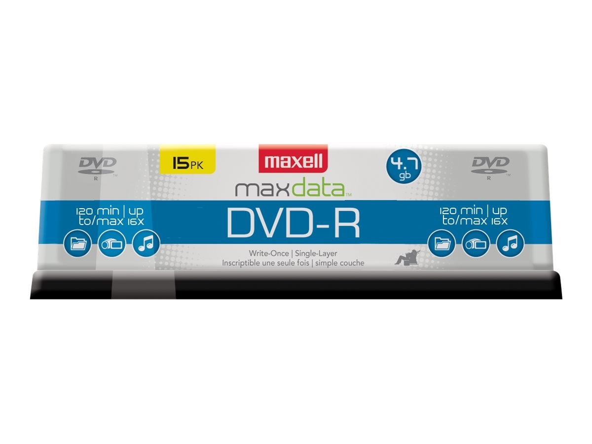 Maxell 16x 4.7GB DVD-R Media (15-pack Spindle), 638006, 6508690, DVD Media