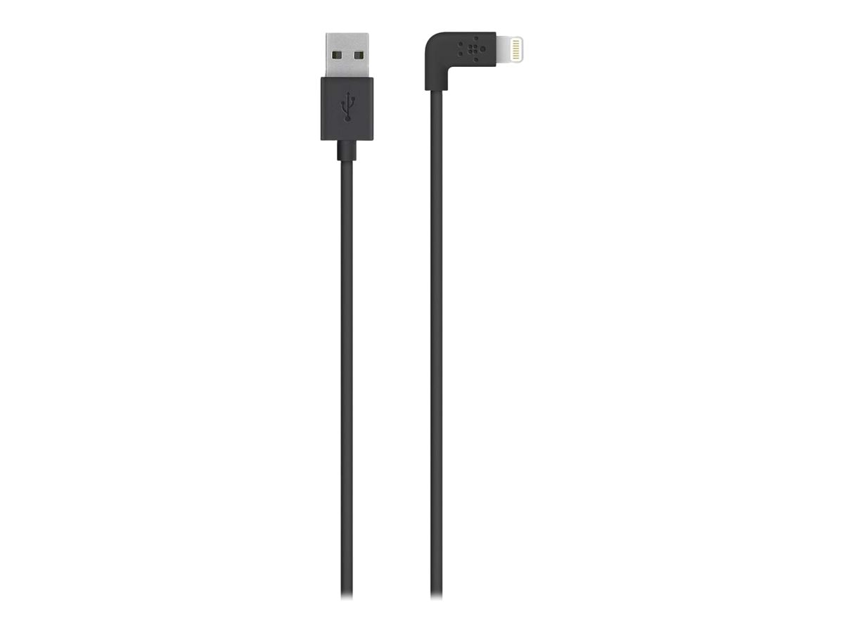 Belkin MIXIT 90 Degree Lightning to USB 2.0 Type A M M Cable, Black, 4ft, F8J147BT04-BLK