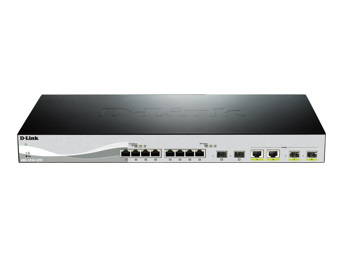 D-Link 8-Port 10GBASE-T Smart Switch w (2) 10G SFP+ & (2)10GBASE-T SFP+ Combo Ports, DXS-1210-12TC