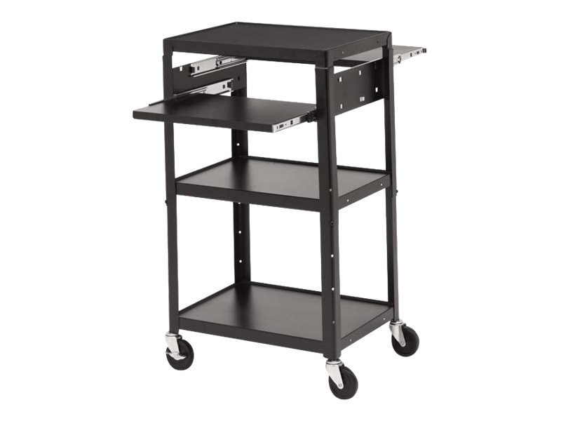Bretford Manufacturing Adjustable AC Cabinet Cart with 2 Pullout Shelves, 4in Wheels, Powered, A2642DNSE, 12737333, Computer Carts
