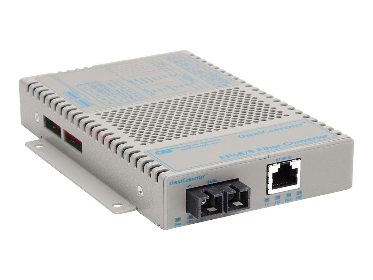 Omnitron OmniConverter FPoE S 1x10 100T to 100FX SC SM 1310 30KM Standalone 100-240VAC, 9303-1-12, 12574175, Network Transceivers