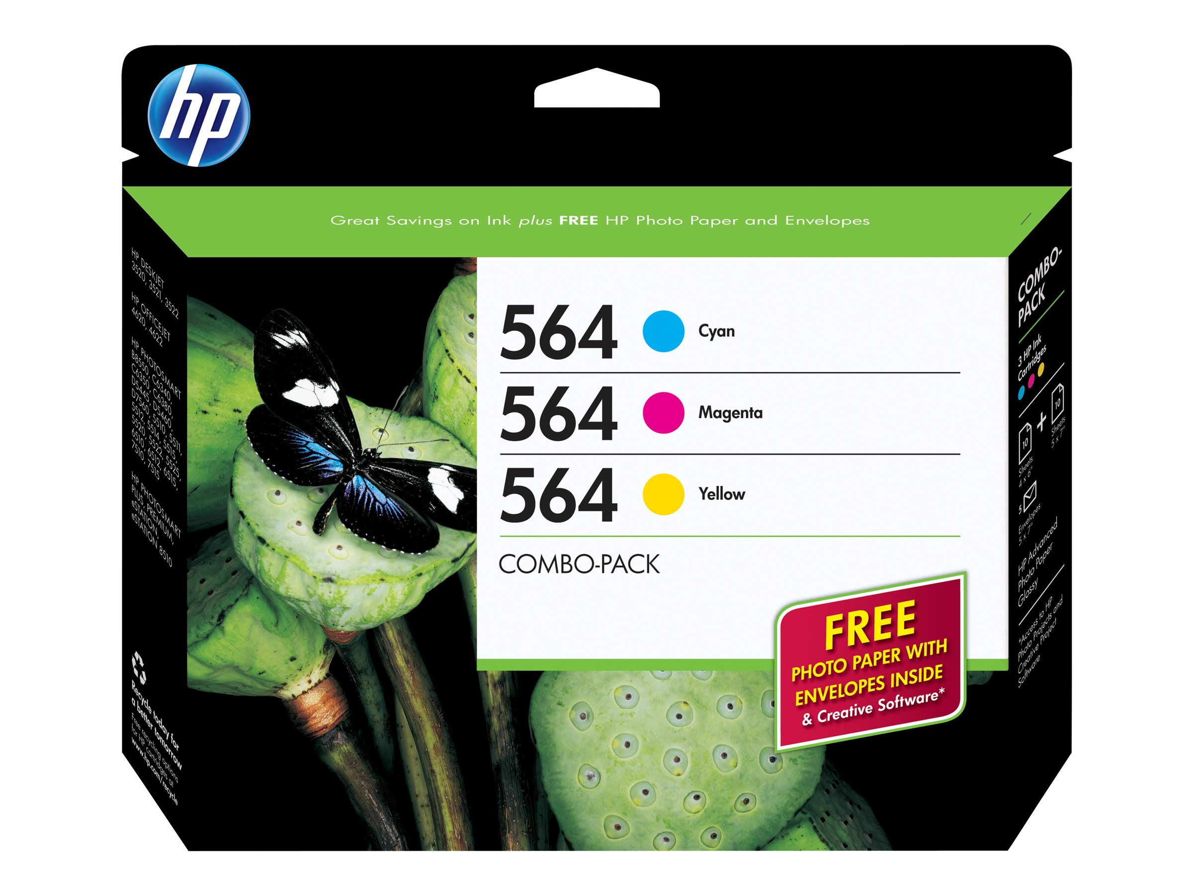 HP 564 (B3B33FN) 3-pack Cyan Magenta Yellow Original Ink Cartridges w  Photo Paper