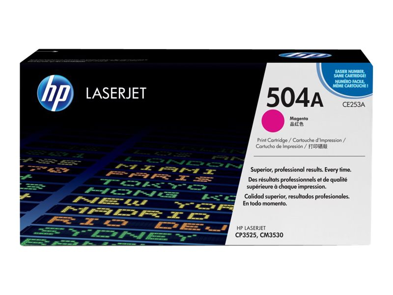 HP 504A (CE253A) Magenta Original LaserJet Toner Cartridge for HP Color LaserJet CP3525 & CM3530 MFP, CE253A, 8944014, Toner and Imaging Components
