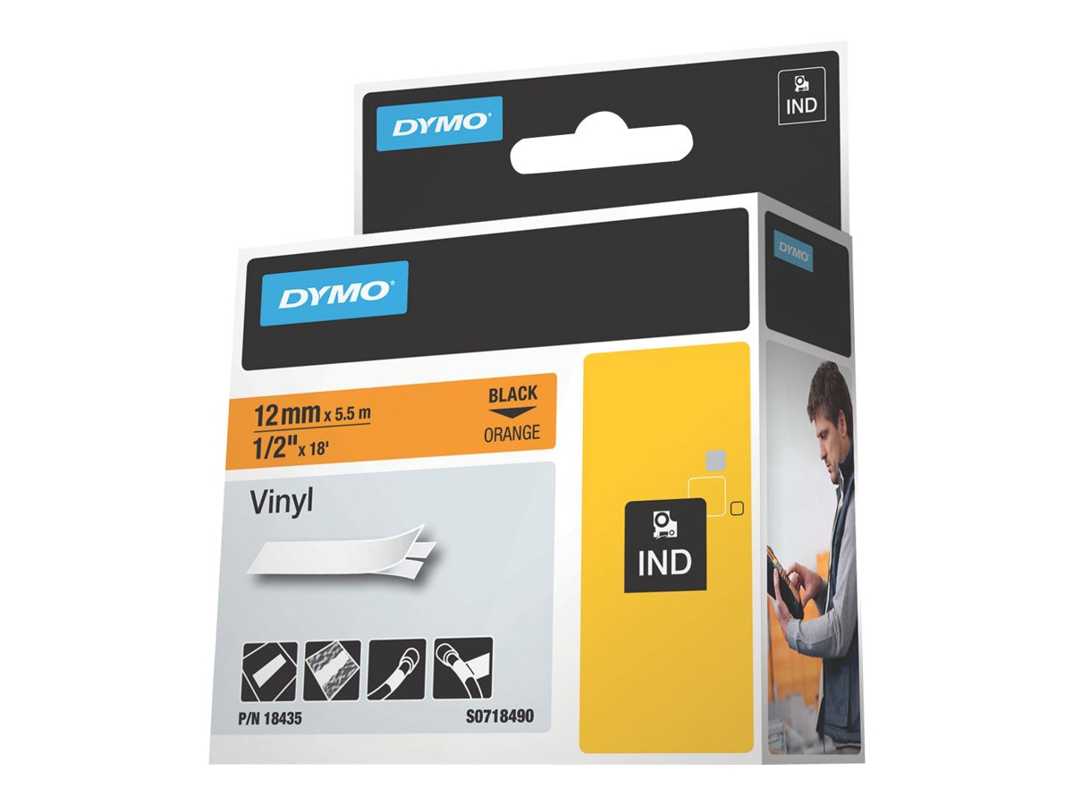 DYMO .5 Rhinopro Orange Vinyl Labels, 18435, 7375905, Paper, Labels & Other Print Media