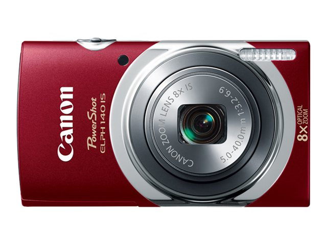 Canon PowerShot ELPH 140 IS, 16MP, 8x Zoom, Red, 9147B001, 16958651, Cameras - Digital - Point & Shoot