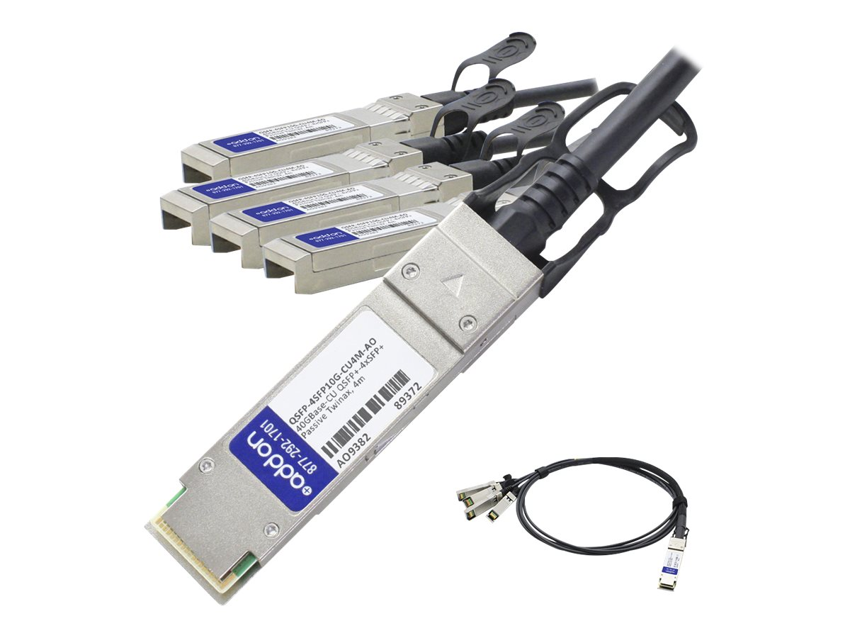 ACP-EP Cisco Compatible 40GBase-CU QSFP+ to 4xSFP+ Direct Attach Active Twinax Cable, 4m, QSFP-4SFP10G-CU4M-AO
