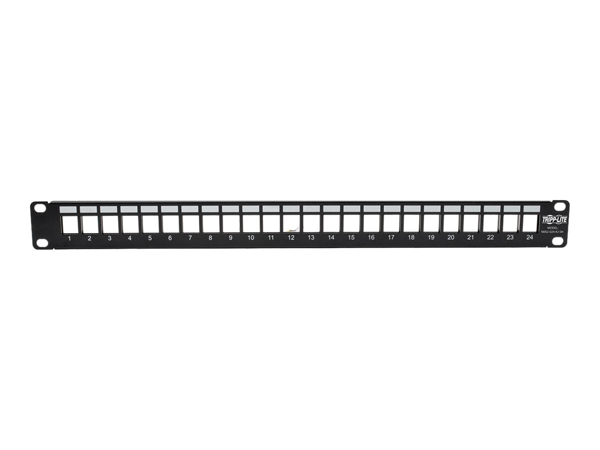 Tripp Lite 24-Port 1U Rack-Mount Shielded Blank Keystone Multimedia Patch Panel, RJ-45, USB, HDMI, Cat5e 6