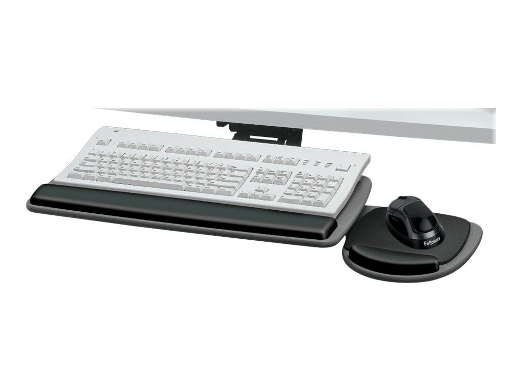 Fellowes Adjustable Keyboard Tray with Wrist Rest, 93841, 345306, Cart & Wall Station Accessories