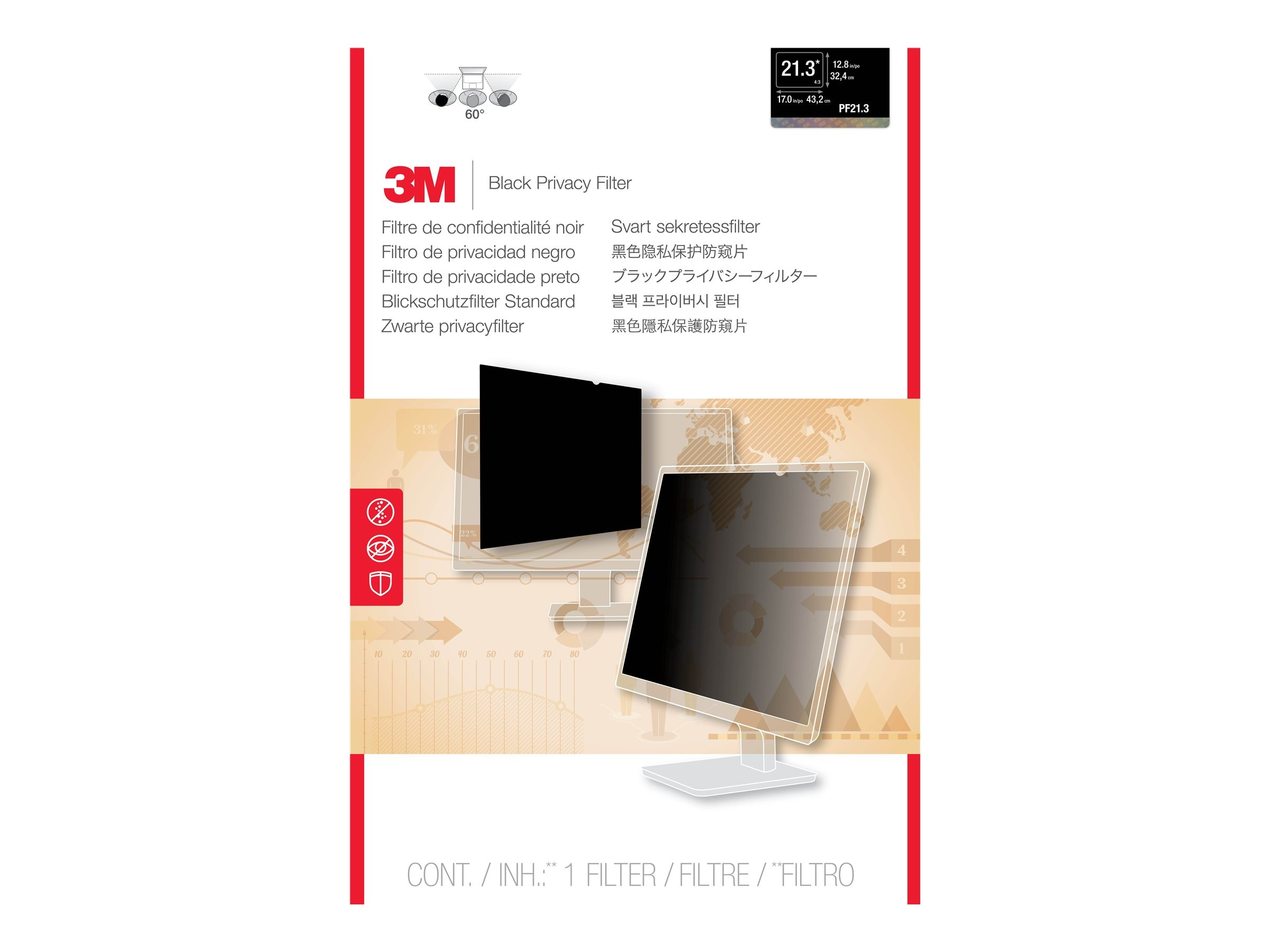 3M Privacy Filter for 21.3-inch LCD, PF21.3