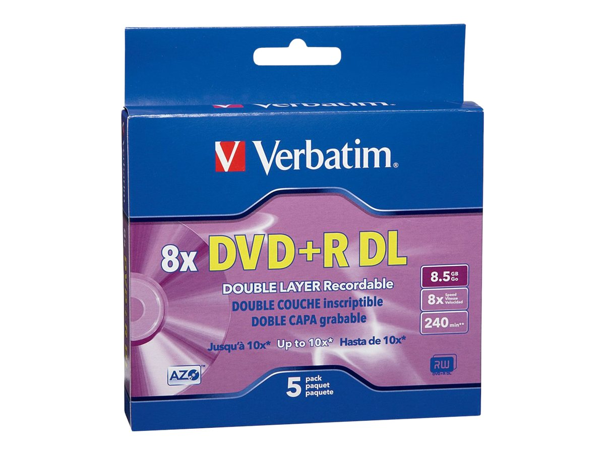 Verbatim 8X 8.5GB DVD+R DL Branded Media (5-pack Jewel Cases), 95311, 6561482, DVD Media