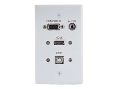 C2G RapidRun HDMI Single Gang Wall Plate w  VGA, Stereo Audio, USB, White, 60139, 17599751, Premise Wiring Equipment