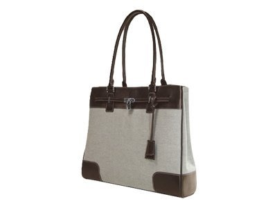 Mobile Edge Madison Tote 15.4 Two-tone Canvas Brown White, METMC8, 18142023, Carrying Cases - Notebook
