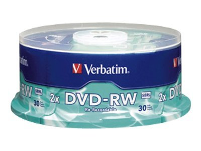 Verbatim 2X 4.7GB Branded DVD-RW Media (30-pack Spindle), 95179, 6325092, DVD Media