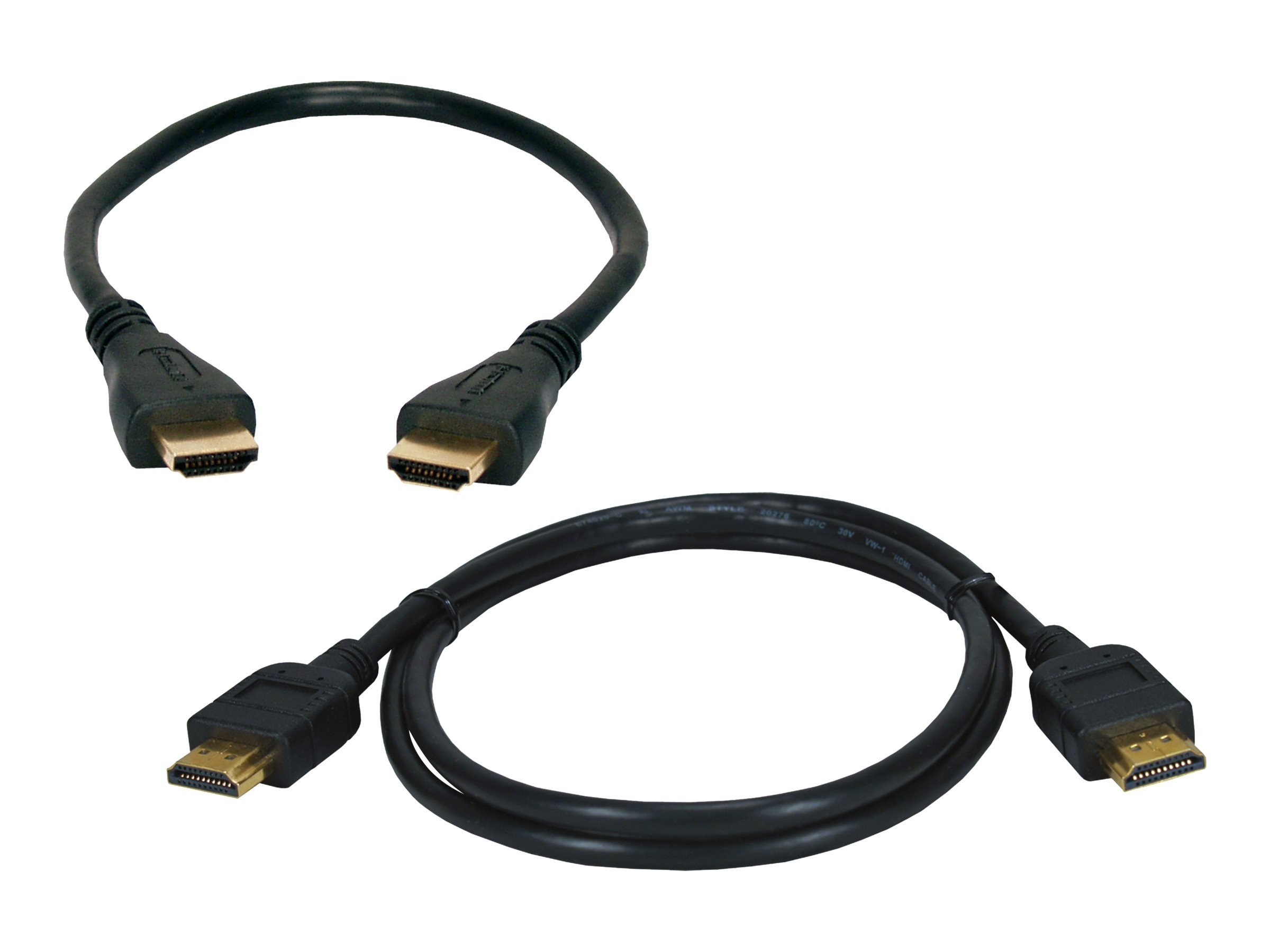 QVS High-Speed HDMI M M with Ethernet 4K Ultra HD Cable, Black, 1.5m and 3m, 2-Pack