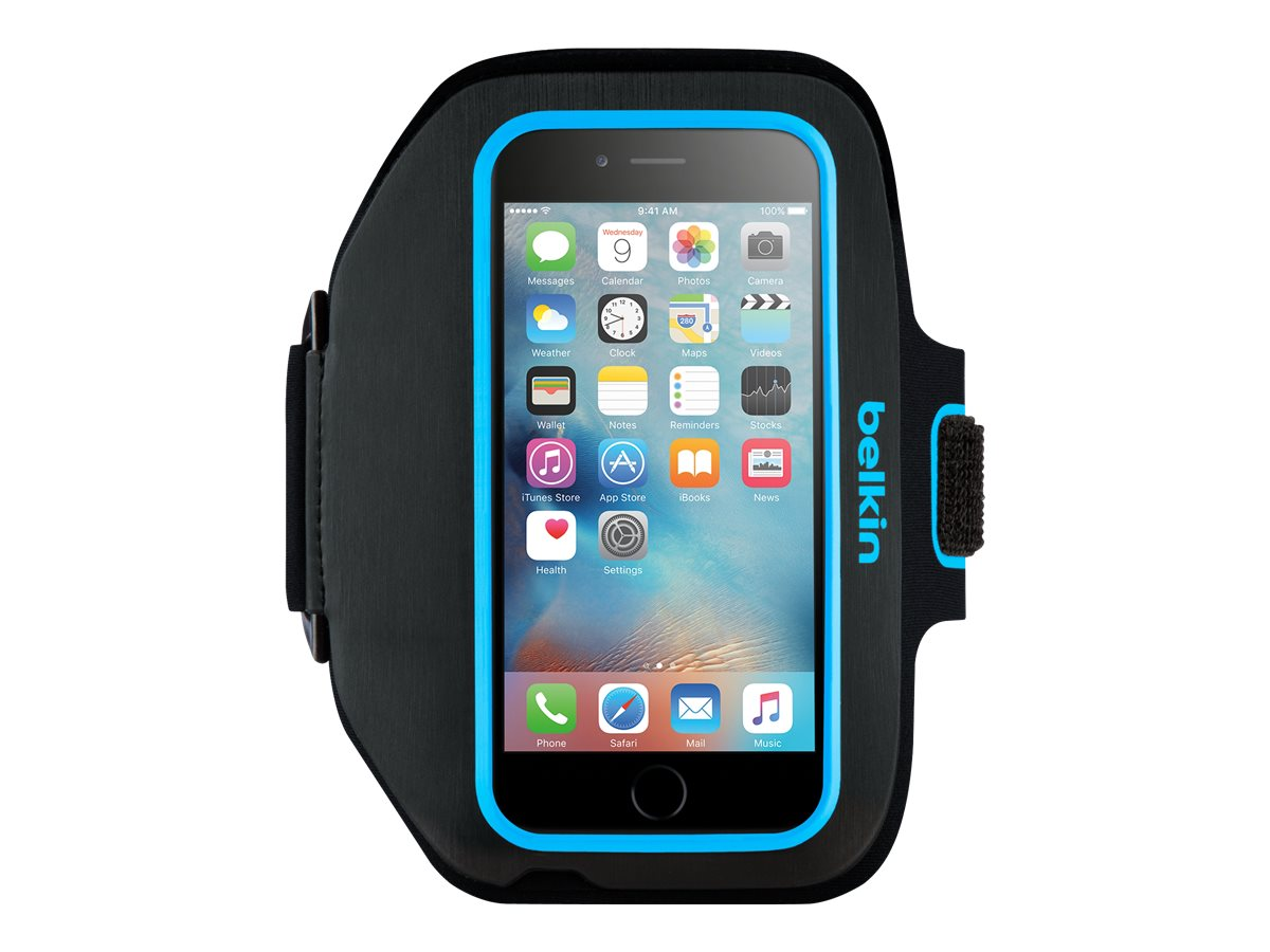 Belkin Sport-Fit Plus Armband for iPhone 6, Blacktop Topaz, F8W501BTC03, 18815929, Carrying Cases - Phones/PDAs