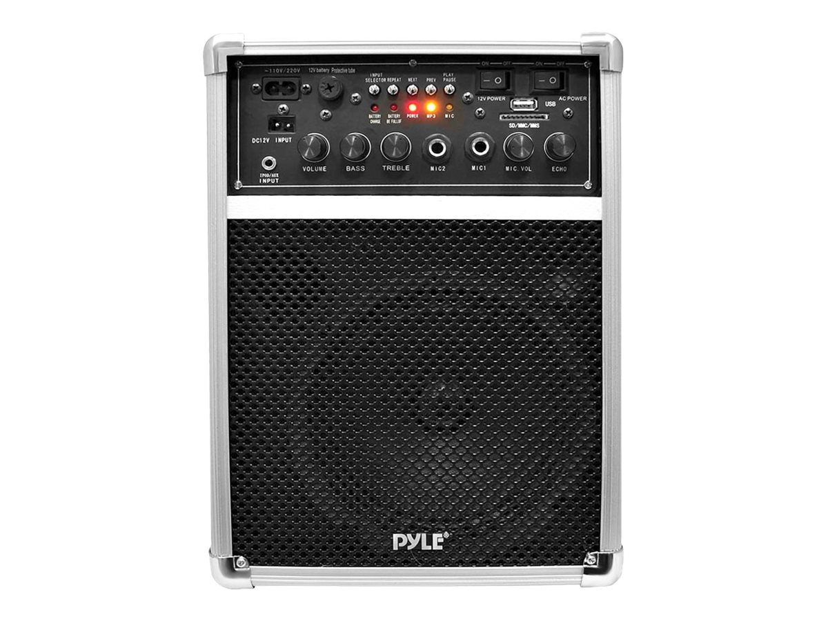 Pyle Dual Channel 400 Watt Wireless PA System W USB SD MP3, 2 VHF Wireless Microphones (1 Lavalier, 1 Han