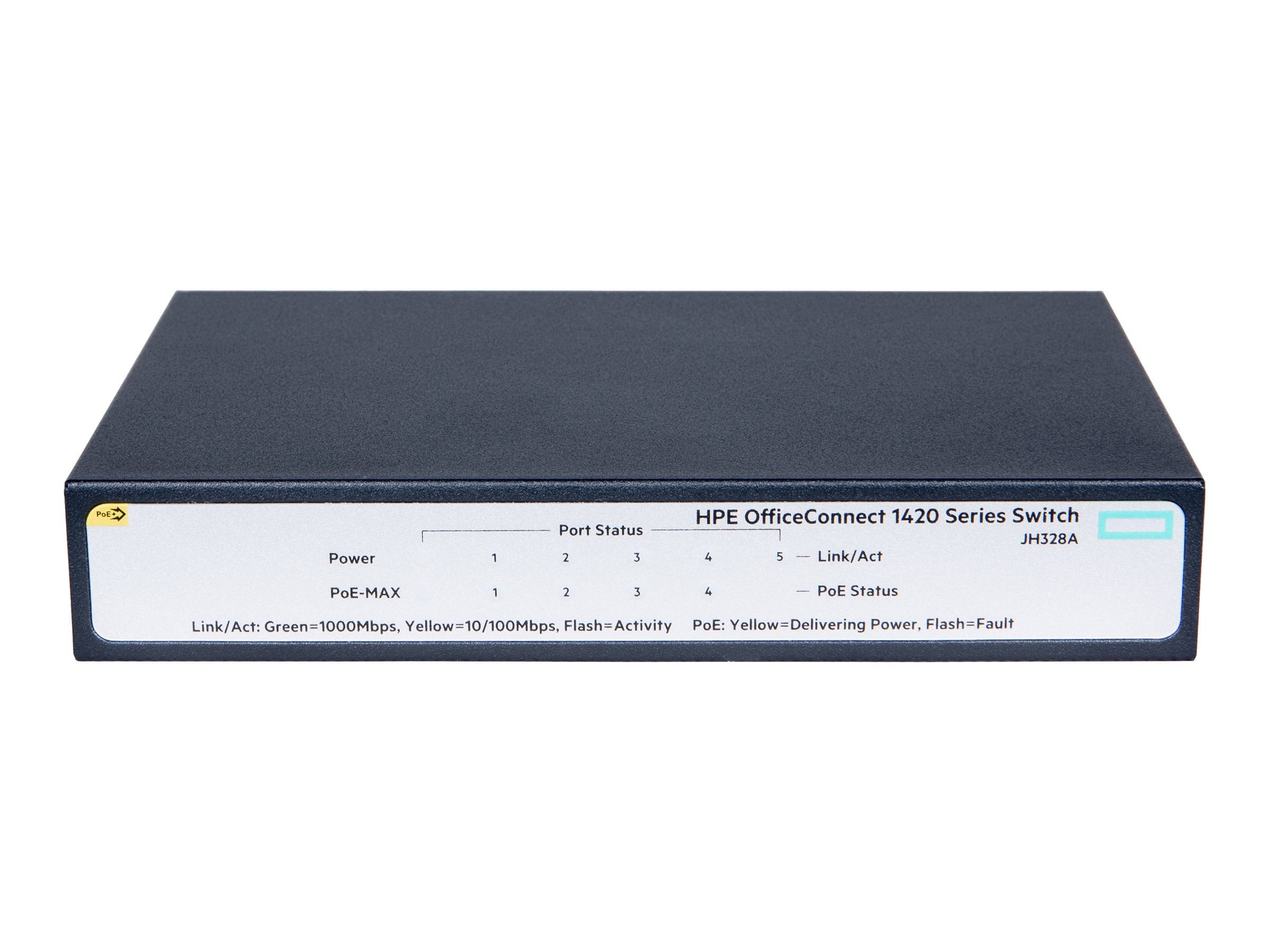HPE OfficeConnect 1420 5-Port GE PoE+ (32W) Unmanaged Switch, JH328A