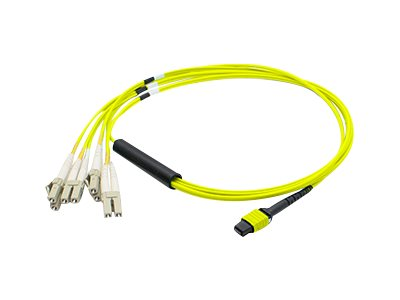 ACP-EP MPO to 4xLC Duplex Fanout SMF Patch Cable For Juniper, Yellow, 1m, MTP-4LC-S1M-AO, 18192240, Cables