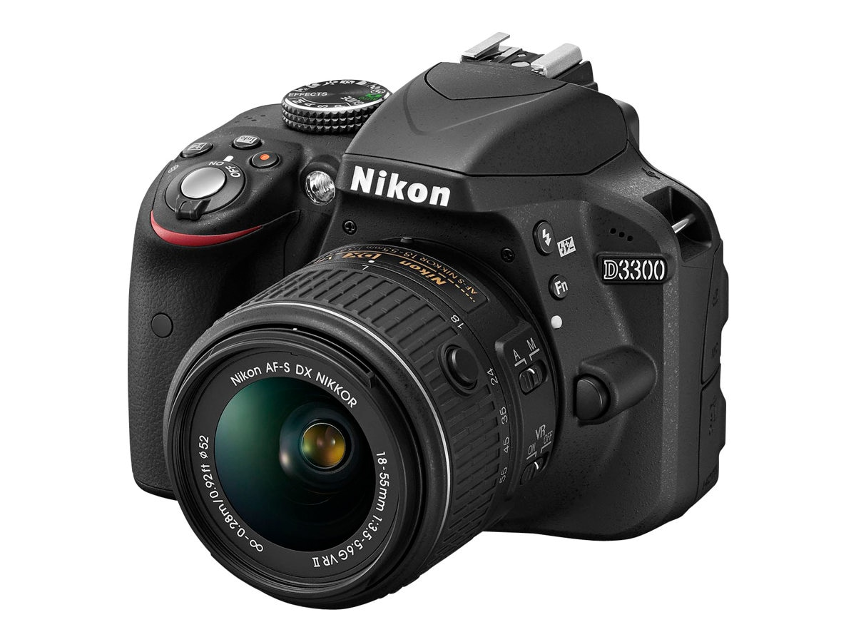 Nikon D3300 DSLR Camera, Black with 18-55mm Lens