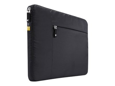 Case Logic 15.6 Laptop Sleeve w  Zippered Front Pocket for iPad 10.1 Tablet, TS-115BLACK