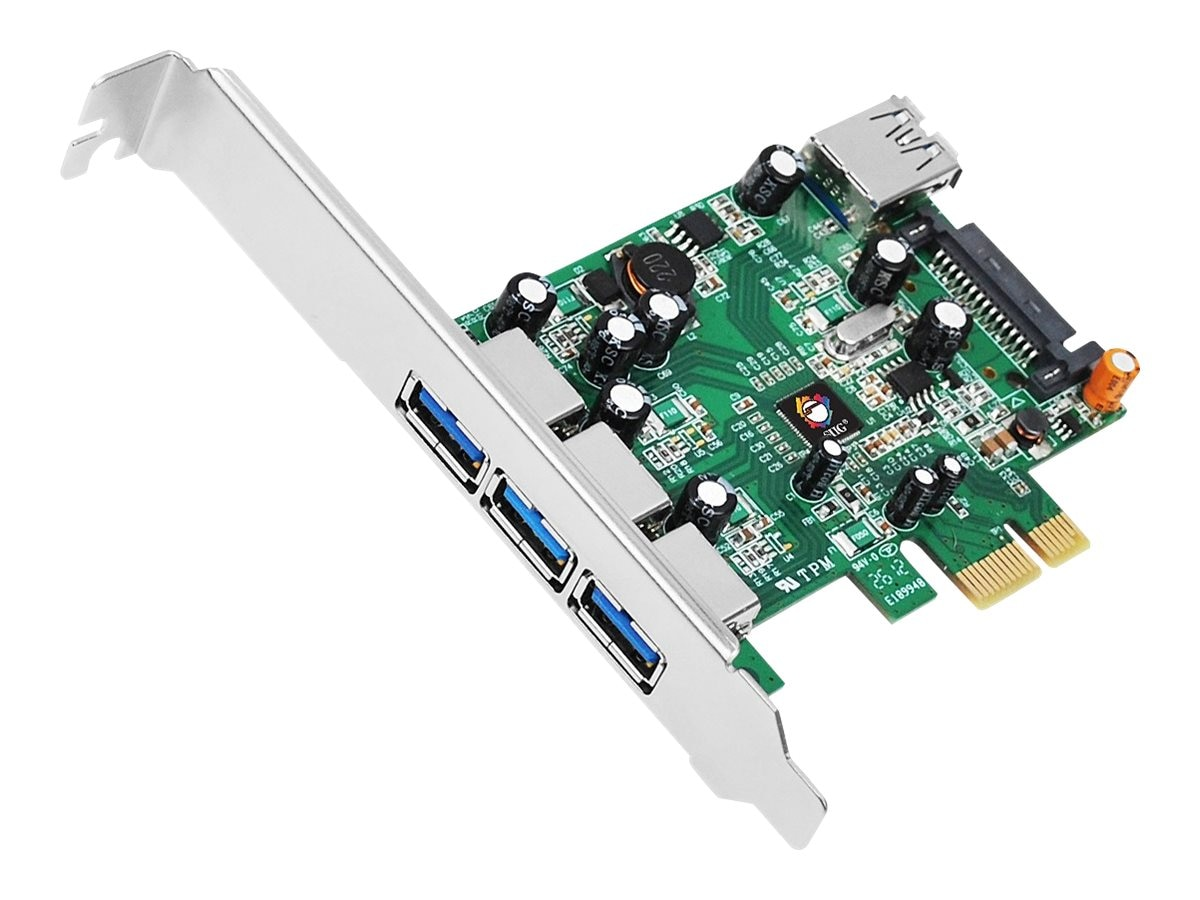 Siig Dual Profile PCI Express 4-Port USB 3.0 Host Adapter, JU-P40311-S1