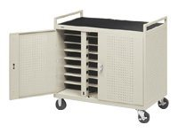 Bretford Manufacturing Notebook Storage Cart for 24 Units, Welded with 5 Casters and Electrical Unit (Rear), LAP24EBA-GM, 4958718, Computer Carts
