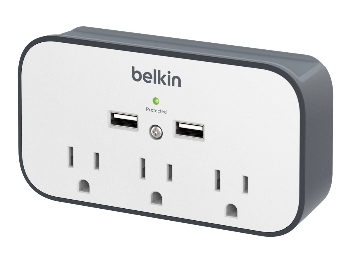 Belkin Surge Protector (3) Outlets, 300 Joules, (2) USB 2.1A Ports, BSV300TTCW, 18480727, Surge Suppressors